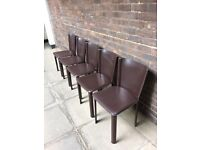 5 x Brown Leather dining chairs