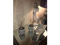 Pair Of Silver Sparkle Mosaic Tealight Holders