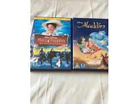 Disney dvds - Mary Poppins and Aladdin.