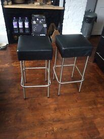 2x Julius ikea Bar stools Black Leather Pair