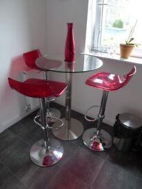 John Lewis circular glass top table & 3 x stools