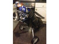 Full Set Of Mizuno Golf Clubs With Trolley