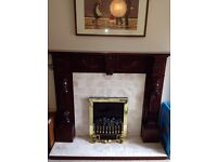 Mahogany Fire Place Surround and Hearth with Electric Fire
