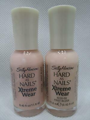 2 Sally Hansen Hard as Nails Xtreme Wear 08 First Blush Nail Polish NOS