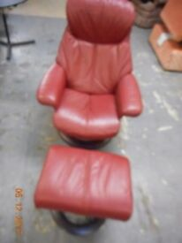 Leather reclining chair with footstool