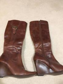Next tan knee high boots, wedge heel, size 3.5