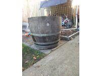 Wooden half barrel plant pot