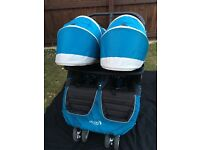 Baby jogger city mini double pram including belly bar and rain cover