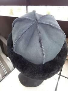 "SHEEPSKIN HAT - BRAND NEW 100% SHEARLING BLACK Leather 21"" HEAD"