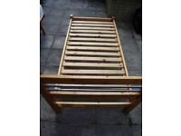 Single bed, solid chunky pine, includes very clean mattress