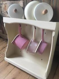 Pan Pot Holder Wooden Shelf Storage - Shabby Chic Kitchen REDUCED