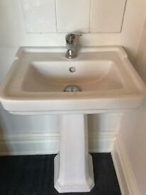 Bathroom sink and mixer tap
