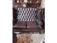 Brown Leather Chesterfield Wingback / Highback two seater sofa / settee with Queen Anne Legs