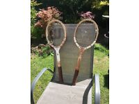 Retro vintage tennis rackets