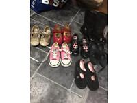 Selection of girls size Junior 8 shoes including converse trainers