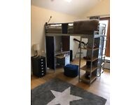 Kids high sleeper with mattress bunk bed metal bed frame single bed