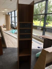 TALL OPEN SHELF UNIT WITH DRAWERS