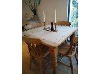 Vintage pine dining table. Battersea pick up or will deliver.