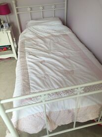 Next white metal frame single bed with flower detail excellent condition