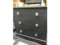CHEST OF 4 DRAWERS MATT BLACK SOLID PINE LARGE CRYSTAL HANDLES