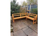 Corner Garden Bench Wood 5 Seater Weather Resistant Patio Yard Furniture