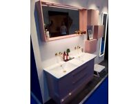 Dansani Calidris 120cm Double Vanity Unit Soft Rose Gloss RRP £9584 Ex-Display