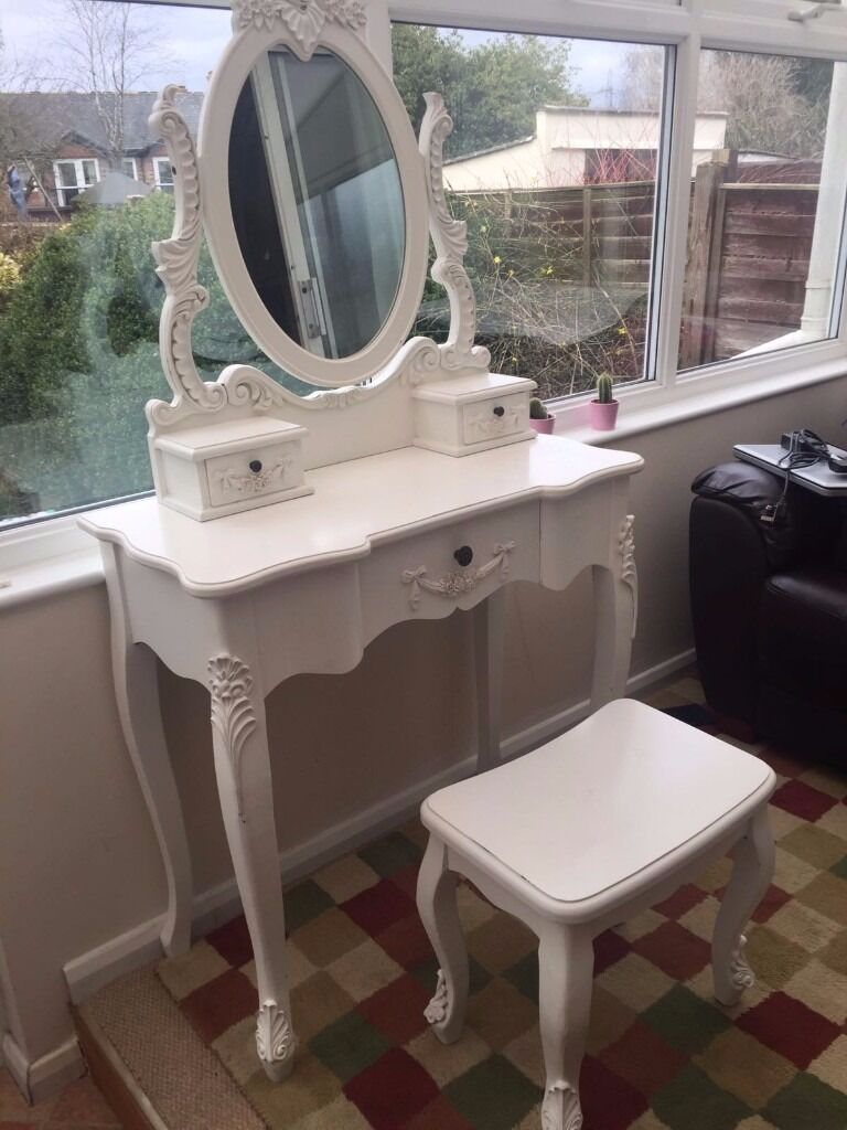 Toulouse dressing table shabby chic white with mirror and stool toulouse dressing table shabby chic white with mirror and stool dunelm geotapseo Images