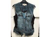 Karen Millen Gilet. Denim, leather & faux fur. Size 10. Never worn - tags still attached