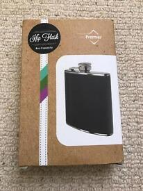 Black and Chrome Hip Flask - New in Box