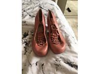 Pink ruffle T- bar shoes