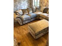 Brand new large silver velvet corner sofa