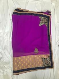 Purple georgette Saree attached blouse brand new.collection only.no returns-swap-refund,thanks