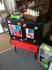 Retro funky record box cupboard storage shelving unit