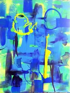 "18x14"" ORIGINAL ABSTRACT ART by Oakville artist Valerie Koudelka Blue Yellow Painting / SUNDAY MORNING / Acrylic Canada"