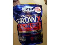 USN GROW XL ALL IN ONE Strawberry protein powder 4kg bag (3.3 left)