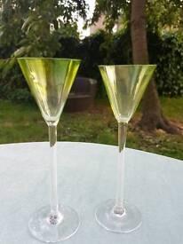 2 long stem Absenth glasses