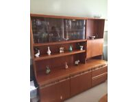 McIntosh Teak Dining Room Unit. Glass display, 3 drawers, drinks cabinet and double cupboard