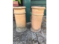 Pair reclaimed chimney pots
