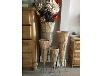 Wicker tall standing vases