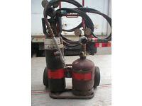 Garage clearance Gas welding kit complete, trolley, torch, bottles, etc porta pak unit.
