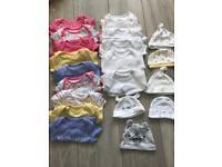 Girls 0-3 month vests and hats bundle