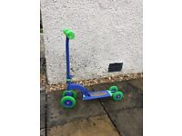 Kids blue/green 'My First Scooter' converts from 4 wheels to 3 or 2