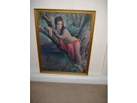 Stunning huge original J H Lynch Woodland Goddess print