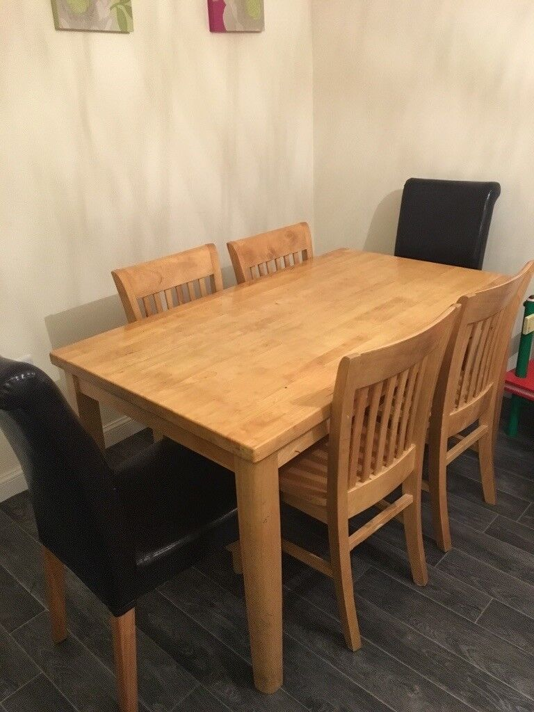 Rubber Tree Dining Table And 4 Rubber Tree Chairs With 2