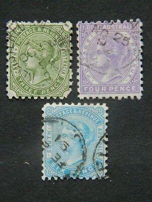 1838 SOUTH AUSTRALIA SC 78-80 (SG 183-5 ) USED PERF 10    CAT $12.75