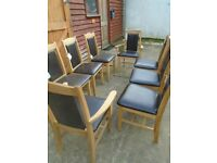 Oak dining chairs x 8