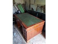 Large solid wood desk with green leather inset top. refurbishment / upcycle project