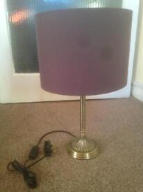 Purple shade lamp with bronzed chrome effect