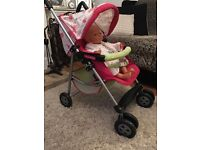 Mamas & Papas pink floral buggy / pushchair toy dolls