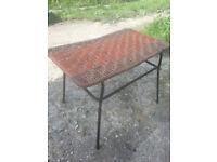 Retro, mid century, metal and rope stool.